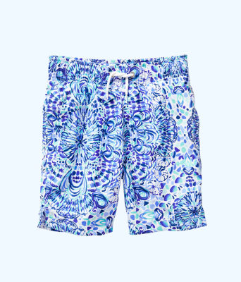 Boys Junior Capri Swim Trunks, Resort White Call My Shell Phone, large