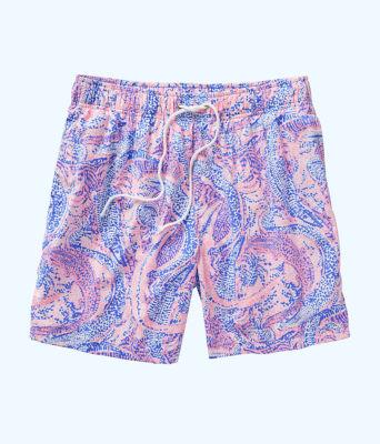 Mens Capri Swim Trunks, Coastal Blue Maybe Gator, large 0