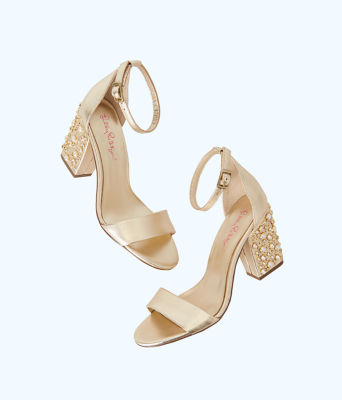 Embellished Amber Lynn Sandal, Gold Metallic, large
