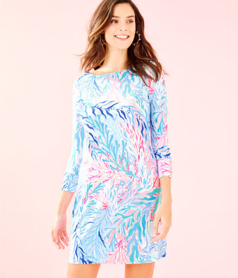 UPF 50+ Sophie Dress, Crew Blue Tint Kaleidoscope Coral, large 0