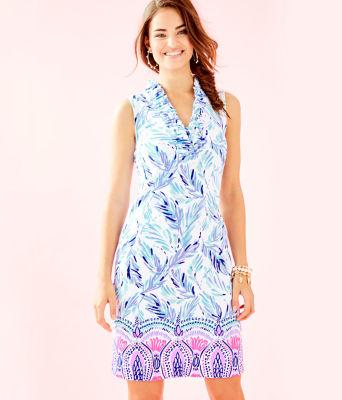 Tisbury Shift Dress, Resort White Flock Together Engineered Knit Dress, large