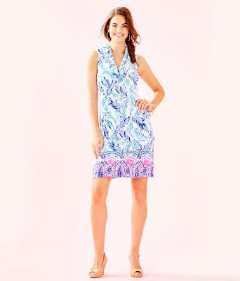 Tisbury Shift Dress, Resort White Flock Together Engineered Knit Dress, large 3