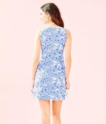 Melani Shift Dress, Coastal Blue Fancy Feet, large 1