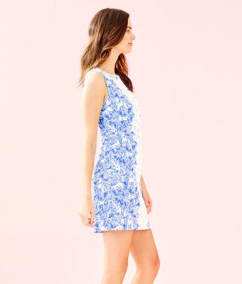 Melani Shift Dress, Coastal Blue Fancy Feet, large 2