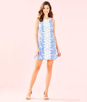 Melani Shift Dress, Coastal Blue Fancy Feet, large