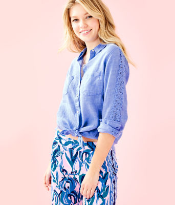 Sea View Button Down Top, Bennet Blue, large