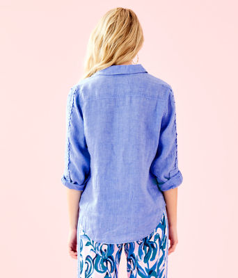Sea View Button Down Top, Bennet Blue, large 1
