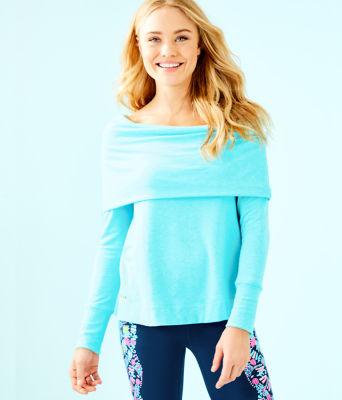 Belinda Off The Shoulder Pullover, Heathered Bali Blue, large 0