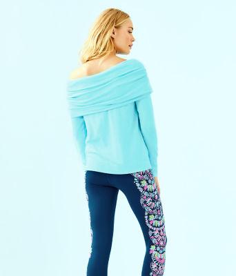 Belinda Off The Shoulder Pullover, Heathered Bali Blue, large 1