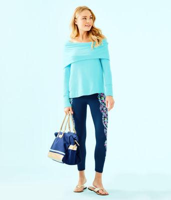 Belinda Off The Shoulder Pullover, Heathered Bali Blue, large 2