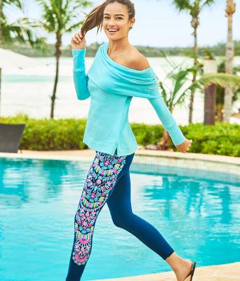 Belinda Off The Shoulder Pullover, Heathered Bali Blue, large 3