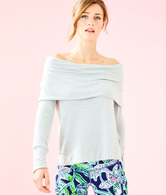 Belinda Off The Shoulder Pullover, Heathered Seaside Grey, large 0