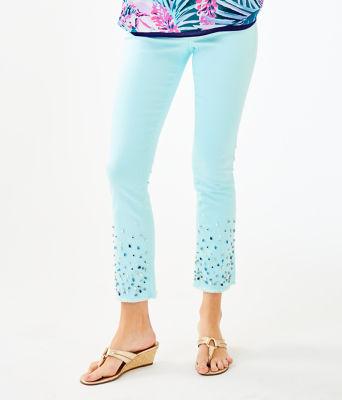 """27 1/2"""" South Ocean Crop Flare Embellished Pant, Whisper Blue, large 0"""