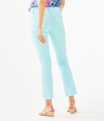 """27 1/2"""" South Ocean Crop Flare Embellished Pant, Whisper Blue, large"""