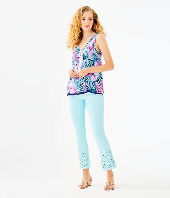 """27 1/2"""" South Ocean Crop Flare Embellished Pant, Whisper Blue, large 3"""