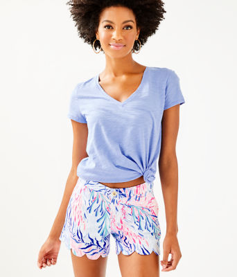 """5"""" Buttercup Stretch Short, Crew Blue Tint Kaleidoscope Coral, large 0"""
