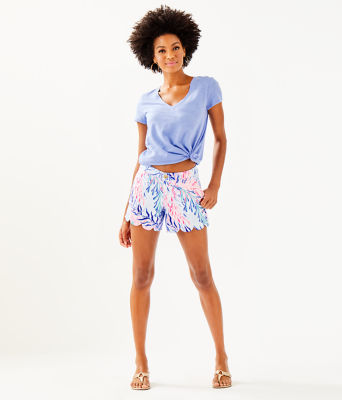 """5"""" Buttercup Stretch Short, Crew Blue Tint Kaleidoscope Coral, large 3"""