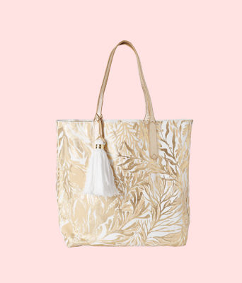 Reversible Shopper Tote Bag, Gold Metallic Turtley Awesome Tote, large