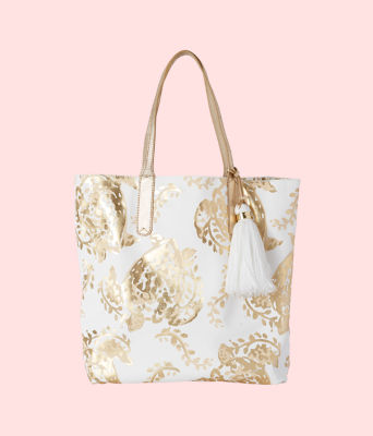 Reversible Shopper Tote Bag, Gold Metallic Turtley Awesome Tote, large 2