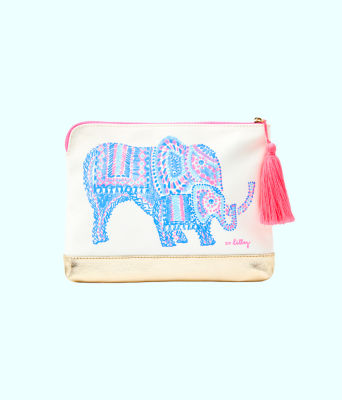 Bon Voyage Pouch, Multi Engineered Elephant Motif Pouch, large