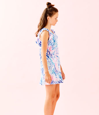 UPF 50+ Girls Mini Rally Tennis Dress, Crew Blue Tint Kaleidoscope Coral, large