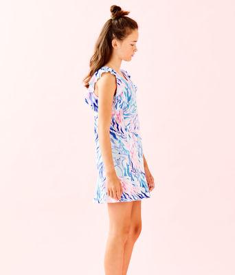 UPF 50+ Girls Mini Rally Tennis Dress, Crew Blue Tint Kaleidoscope Coral, large 2