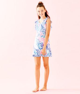 UPF 50+ Girls Mini Rally Tennis Dress, Crew Blue Tint Kaleidoscope Coral, large 3