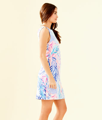 Harper Shift Dress, Crew Blue Tint Kaleidoscope Coral, large 2