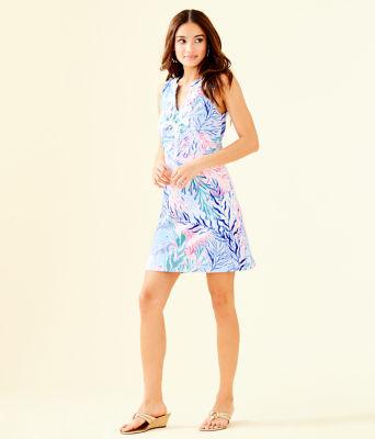 Harper Shift Dress, Crew Blue Tint Kaleidoscope Coral, large 3