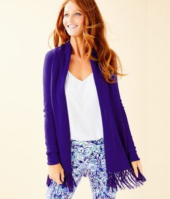 Tatum Long Fringe Hem Cardigan, Royal Purple, large