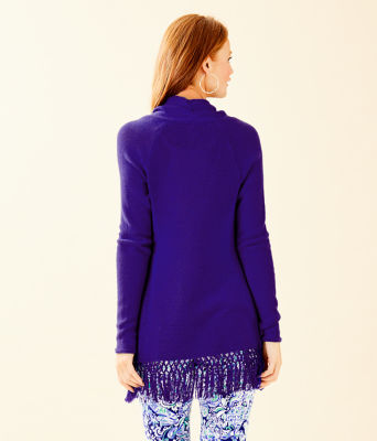 Tatum Long Fringe Hem Cardigan, Royal Purple, large 1