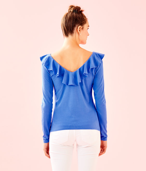 Alessa Long Sleeve Top, Coastal Blue, large