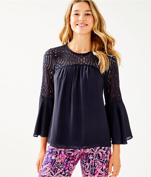 Amenna Flounce Sleeve Top, True Navy, large