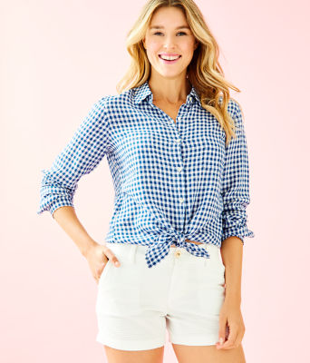 Sea View Linen Button Down Top, Nauti Navy Colony Gingham, large
