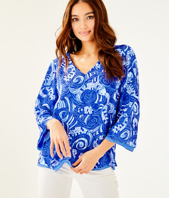 Florin 3/4 Sleeve V-Neck Top, Blue Grotto So Offishal, large 0