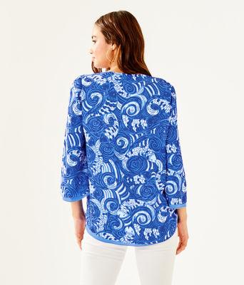 Florin 3/4 Sleeve V-Neck Top, Blue Grotto So Offishal, large 1