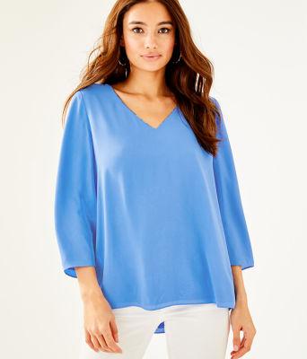 Florin 3/4 Sleeve V-Neck Top, Blue Grotto So Offishal, large 2