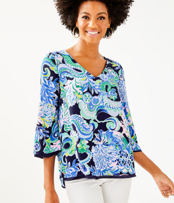 Florin 3/4 Sleeve V-Neck Top, Bright Navy Sirens And Spirits, large 0