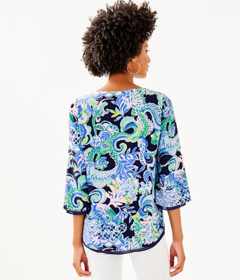 Florin 3/4 Sleeve V-Neck Top, Bright Navy Sirens And Spirits, large 1