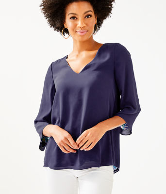 Florin 3/4 Sleeve V-Neck Top, Bright Navy Sirens And Spirits, large 2