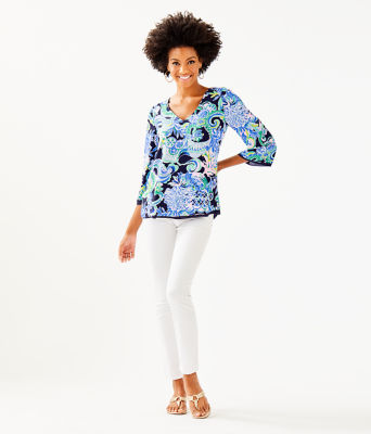 Florin 3/4 Sleeve V-Neck Top, Bright Navy Sirens And Spirits, large 3