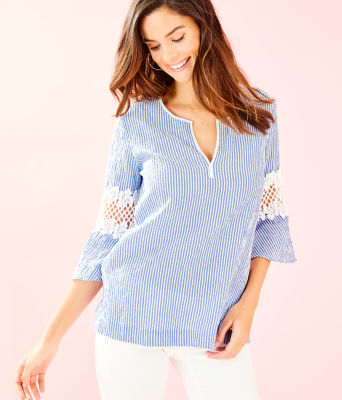 Amelia Island Flounce Sleeve Tunic, Coastal Blue Ltwt Oxford Stripe, large