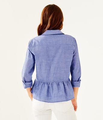 Carina Peplum Button Down Shirt, Blue Haven, large
