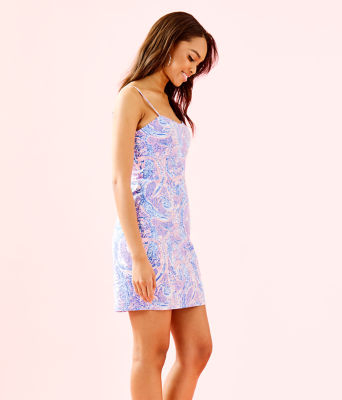 Shelli Stretch Dress, Coastal Blue Maybe Gator, large