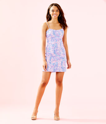 Shelli Stretch Dress, Coastal Blue Maybe Gator, large 3