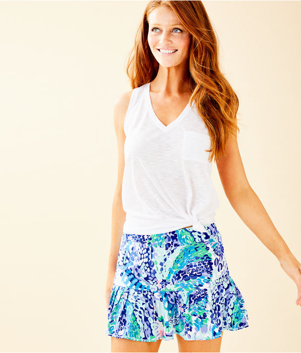 "UPF 50+ Luxletic 13"" Meryl Nylon Taye Skort, Turquoise Oasis Wave After Wave, large"