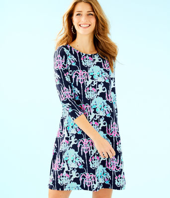 Ophelia Swing Dress, Bright Navy Pop Up Monkey Trouble, large 0