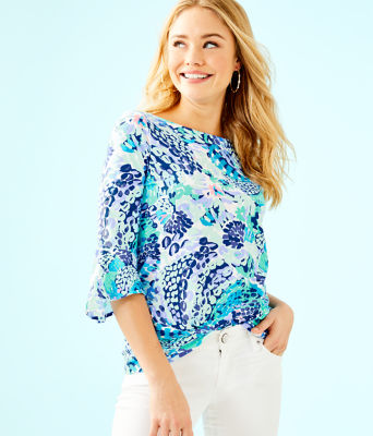 Fontaine Bell Sleeve Top, Turquoise Oasis Wave After Wave, large