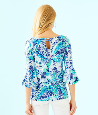 Fontaine Bell Sleeve Top, Turquoise Oasis Wave After Wave, large 1