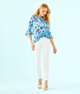 Fontaine Bell Sleeve Top, Turquoise Oasis Wave After Wave, large 2